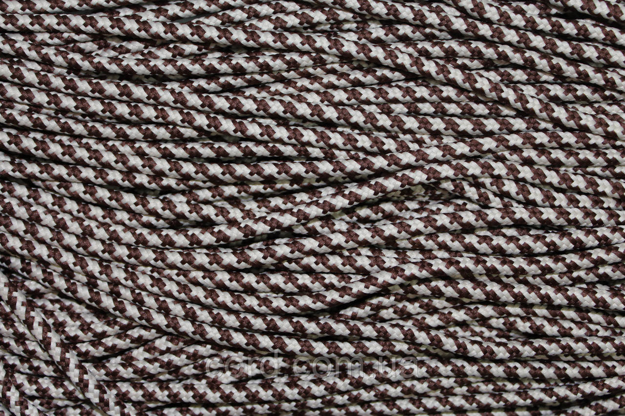 Шнур круглый 5мм с наполнителем 100м коричневый + бежевый