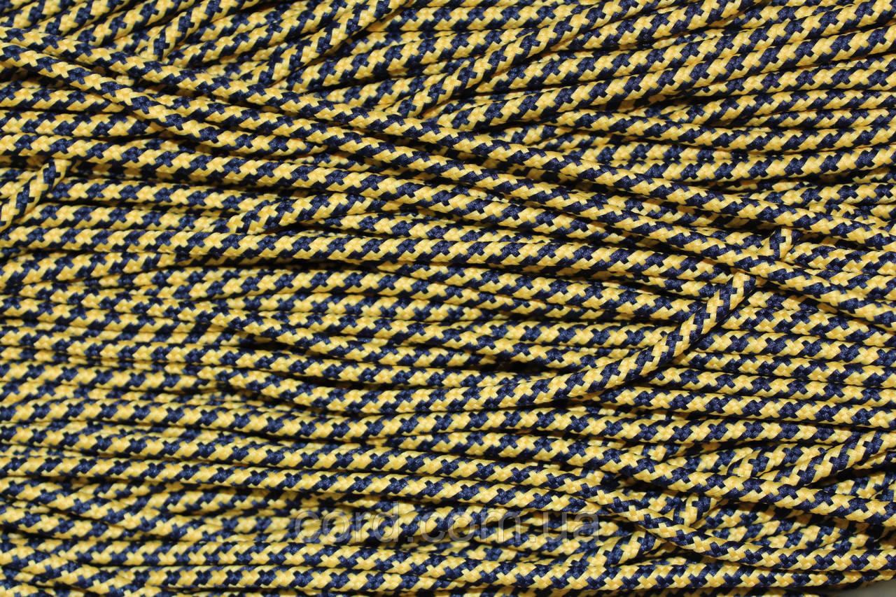Шнур круглый 5мм с наполнителем 100м синий + желтый
