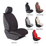 Накидки на передние сидения алькантара LUX стеганые (бежевые+бежевая нить) 1+1, фото 5