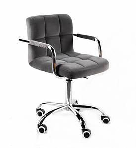 Кресло мастера Арно хром, серый бархат с подлокотниками на колесах