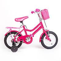 """Детский двухколесный велосипед с дополнительными колесами Pink Rose 12"""""""