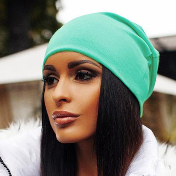 Я | Женская шапка-чулок трикотажная | Цвет мята