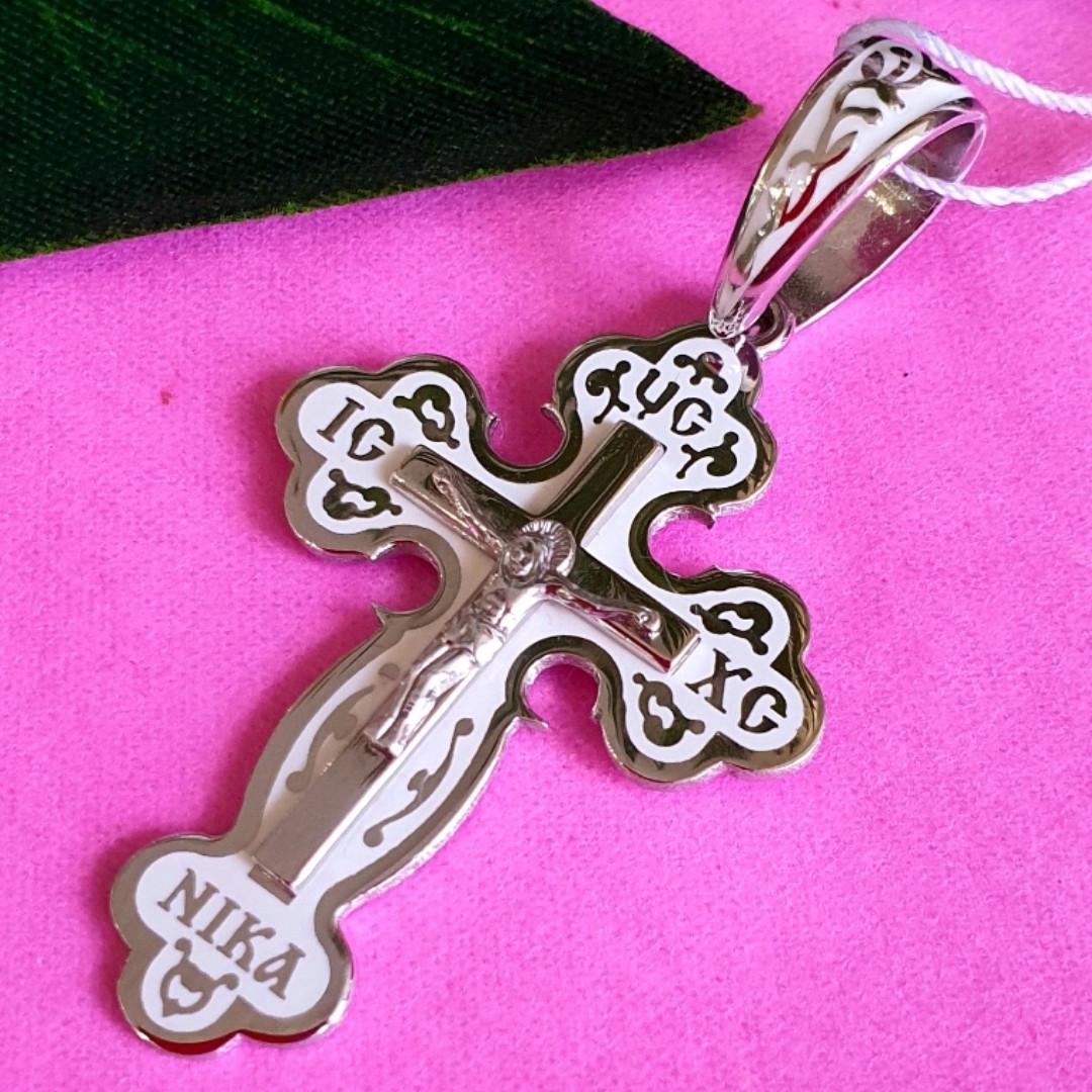 Серебряный крестик с белой эмалью - Крестик серебро и эмаль