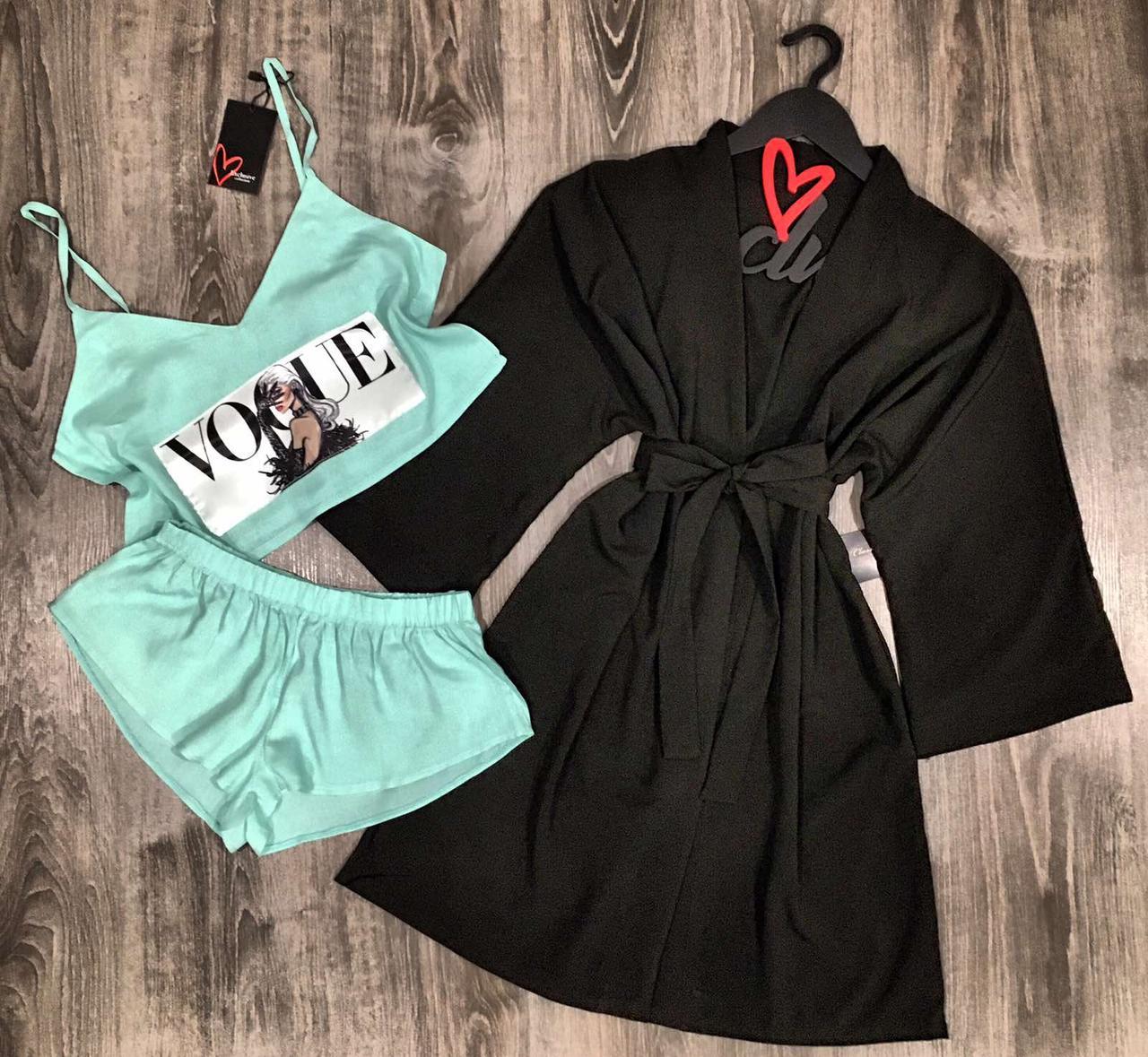Модный комплект одежды для сна и отдыха халат+пижама с рисунком.