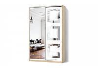 Шкаф-купе Зеркало/Зеркало с рисунком пескоструй двухдверный Классик Матролюкс