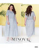 Модное свободное длинное летнее платье в расцветках больших размеров 52 - 62