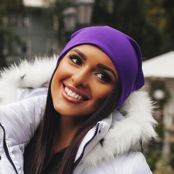 Женская трикотажная шапка чулок, цвет фиолетовый