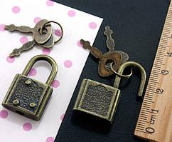(5шт) Замочек навесной с ключиками 30х17мм  Цвет - Античная бронза