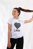 {есть:152} Футболка Likee для девочек,  Артикул: JP1276-белая, фото 1