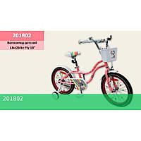Велосипед детский 2-х колес.18'' Like2bike Fly, розовый, рама сталь, со звонком, руч.тормоз, сборка 75%