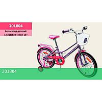 Велосипед детский 2-х колес.18'' Like2bike Eveline, фиолетовый, рама сталь, со звонком, руч.тормоз, сборка 75%