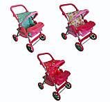 ✅Дитяча прогулянкова коляска для ляльок 9337. Кошик для іграшок, регульована ручка, столик для годування, фото 3