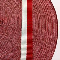 Стрічка для швів і трикотажних виробів 15мм кол біло-червоний (боб 50м) р. 2467 Укр-з