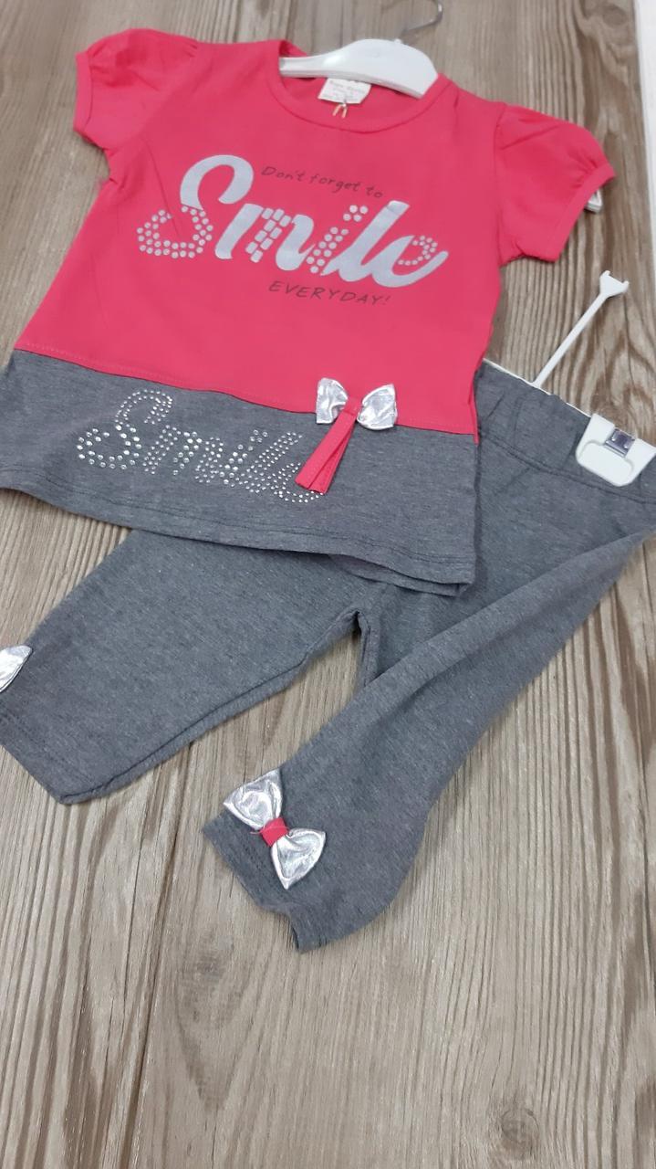 Детский комплект футболка и бриджы для девочки Smile р. 6-12 мес.