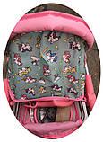 ✅Дитяча прогулянкова коляска для ляльок 9337. Кошик для іграшок, регульована ручка, столик для годування, фото 5