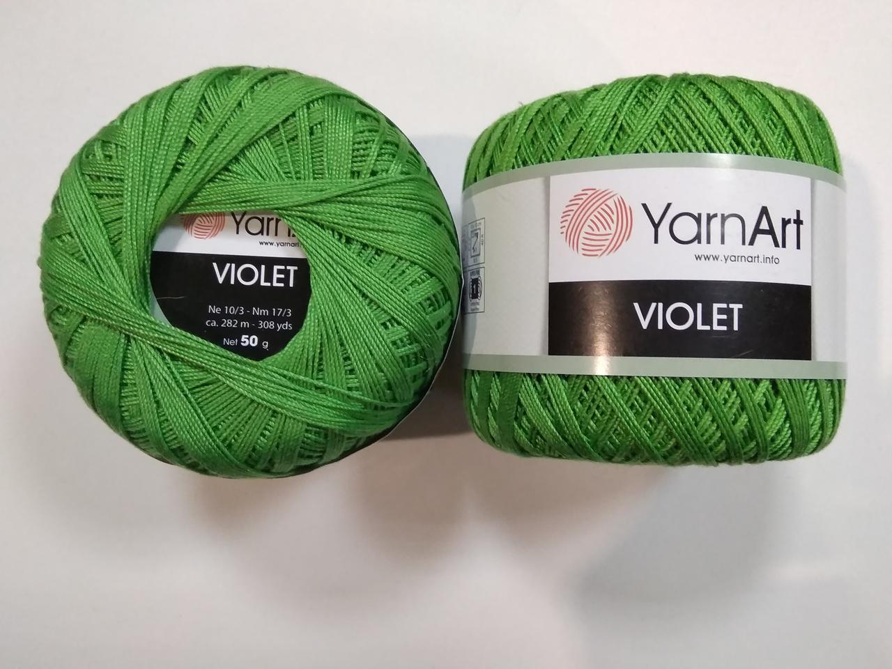 Пряжа Виолета (Violet) YarnArt, цвет зеленый 6332