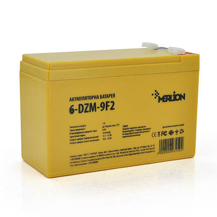 Аккумулятор для детского электромобиля AGM MERLION 6-DZM-9, 12Вольт, 9Ач, фото 2