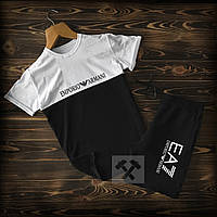 Мужской спортивный комплект, футболка + шорты. Цвет: черный