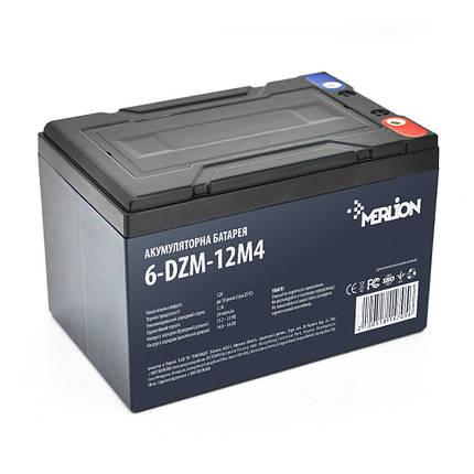 Аккумулятор для детского электромобиля AGM MERLION 6-DZM-12M4, 12Вольт, 12Ач., фото 2