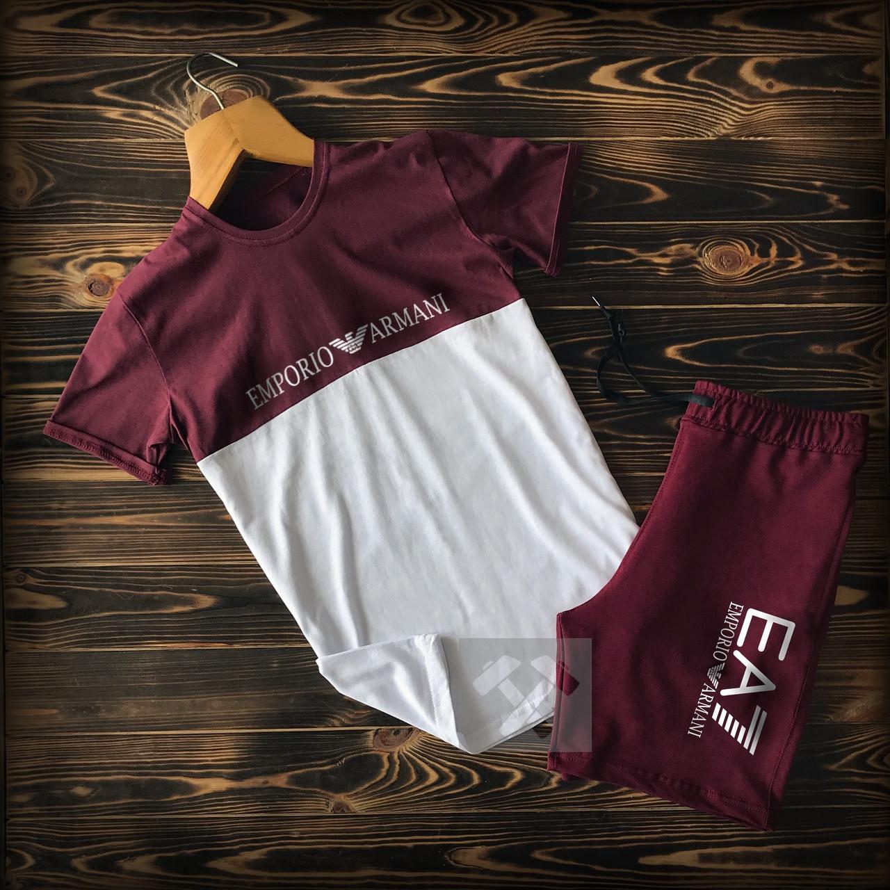 Мужской спортивный комплект, футболка + шорты. Цвет: бордовый
