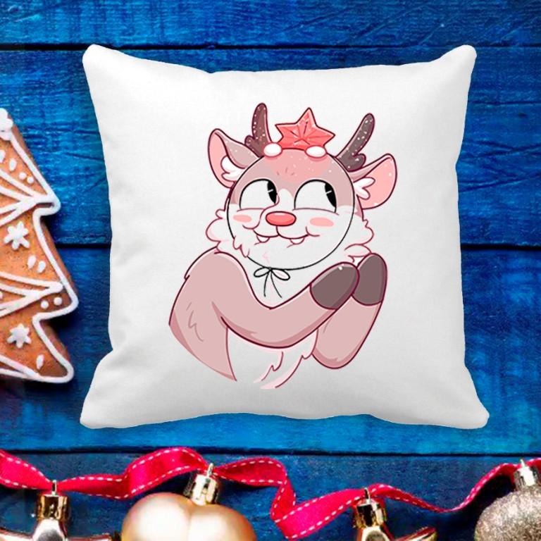 Подушка с новогодним принтом Олененок 3