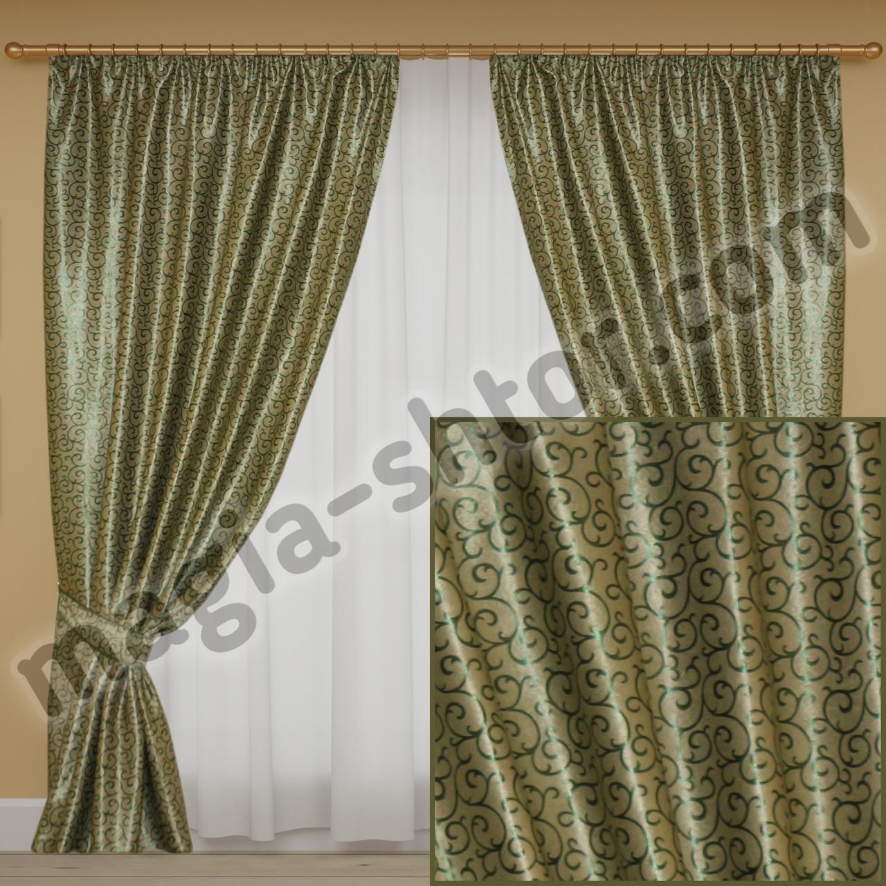Светонепроницаемые шторы зеленые, коллекция блэкаут