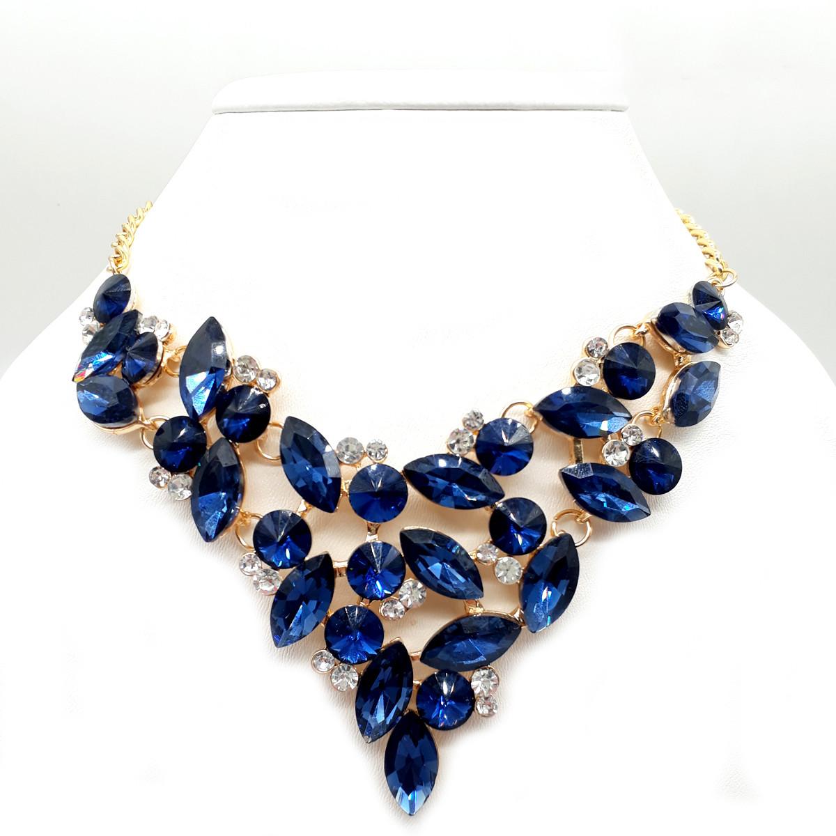 Колье SONATA, синие фианиты, позолота 18К, 63162                         (1)