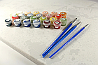 Картина по номерам Красно-белые пионы и вишни GX8082 Brushme 40 х 50 см (без коробки), фото 4