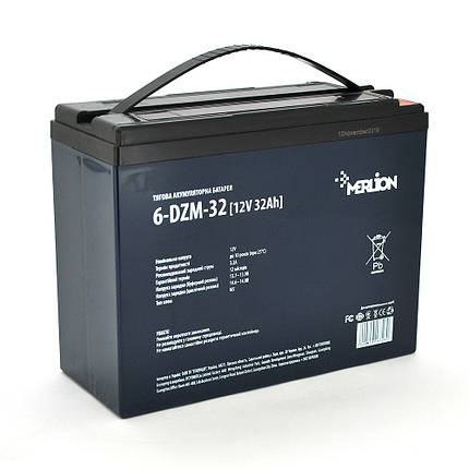 Аккумулятор для инвалидной коляски AGM MERLION 6-DZM-32, 12Вольт, 32Ач., фото 2
