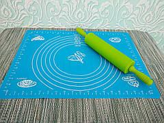 Комплект скалка силиконовая + силиконовый коврик | Качалка для раскатки теста | Силиконвый коврик для раскатки