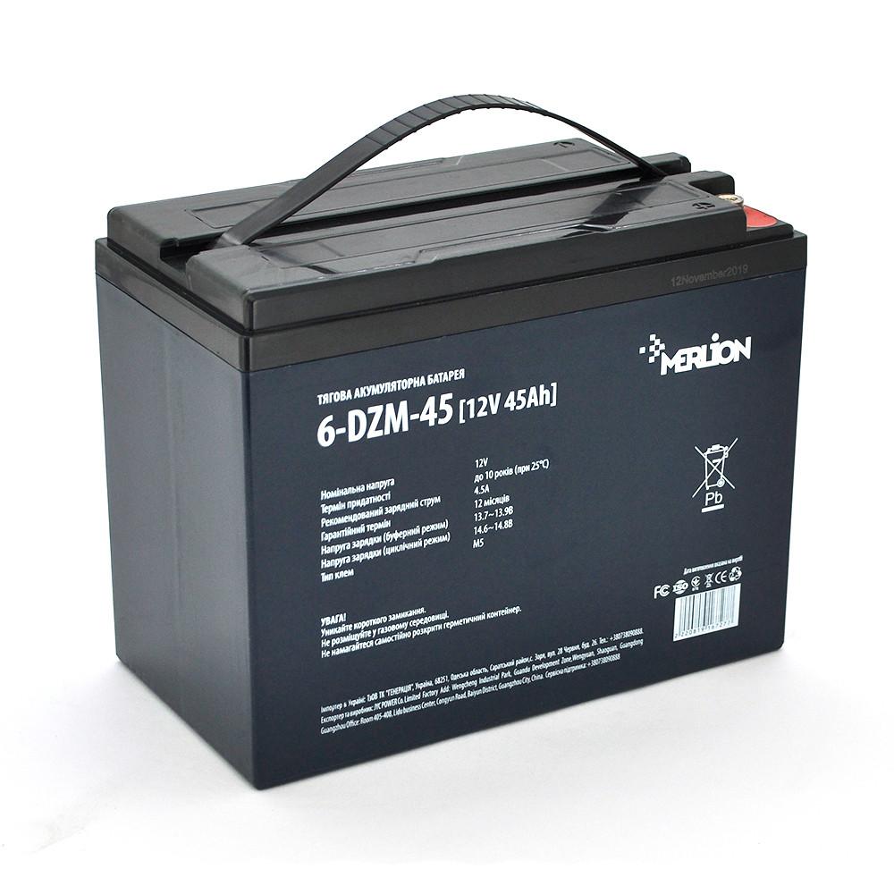 Тяговый аккумулятор AGM MERLION 6-DZM-45, 12Вольт, 45Ач