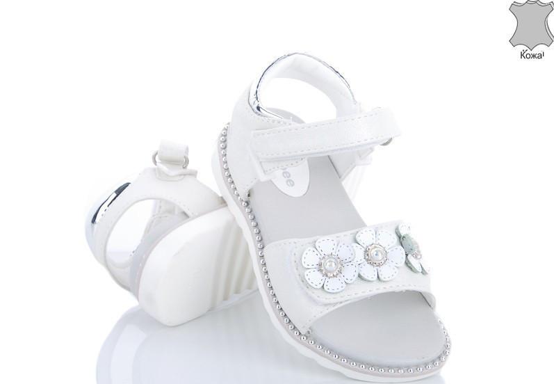 Босоніжки для дівчинки шкіряні білі квіти розмір 30,31,32 Київ