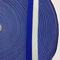 Лента репсовая 15мм цв бело-синий (боб 50м) р.2467 Укр-з