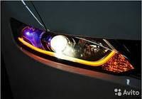 Гибкие силиконовые светодиодные дневные ходовые огни с поворотником Daytime Running Light 60 см v1