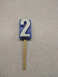 Свічки для торта цифра 2 кольорова синя