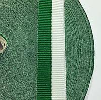 Лента репсовая  20мм цв бело-зеленый (боб 50м) р.2598 Укр-з