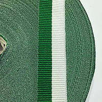 Репсова стрічка 20мм кол біло-зелений (боб 50м) р. 2598 Укр-з