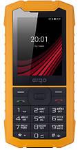 Кнопочный телефон защищенный с большим емким аккумулятором и фонариком ERGO F245 Strength DS Yellow/Black