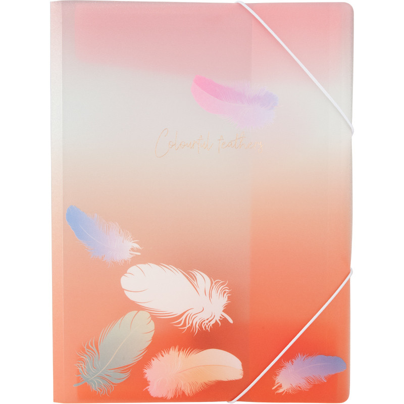 Папка на резинках Axent Colourful Feather 04 A4 полупрозрачная с блестками
