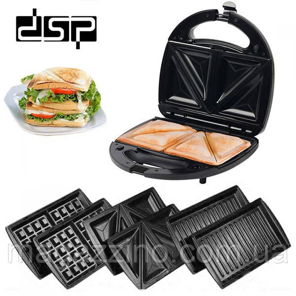 Электрический гриль, бутербродница, сэндвичница, вафельница DSP KC-1049, 3в1, 750Вт.