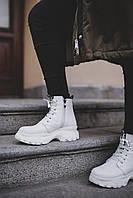 Женские ботинки белые кожа