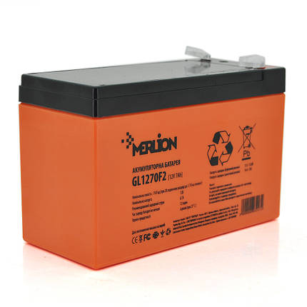 Гелевый аккумулятор MERLION GL1270F2, 12Вольт, 7Ач, фото 2