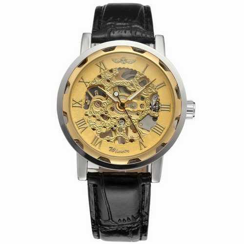 Мужские механические часы Winner 8012С Black-Silver-Gold (без автоподзавода)