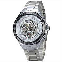Мужские механические часы Winner 8067 Silver-Black-White Red Cristal с автоподзаводом