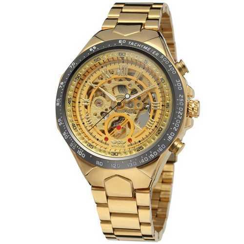 Мужские механические часы с автоподзаводом Winner 8067 Gold-Black-Gold Red Cristal