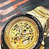 Мужские механические часы с автоподзаводом Winner 8067 Gold-Black-Gold Red Cristal - Фото