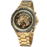 Мужские механические часы с автоподзаводом Winner 8067 Gold-Black-Black Red Cristal