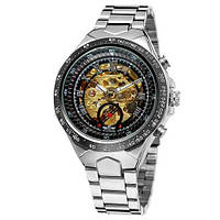 Мужские механические часы с автоподзаводом Winner 8067 (серый корпус,стальной ремешок)