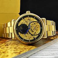 Мужские механические часы с автоподзаводом Forsining 8177 (позолоченный стальной корпус и ремешок)