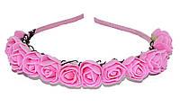 """Дитячий обруч для волосся """"трояндочки"""" - рожевий, фото 1"""